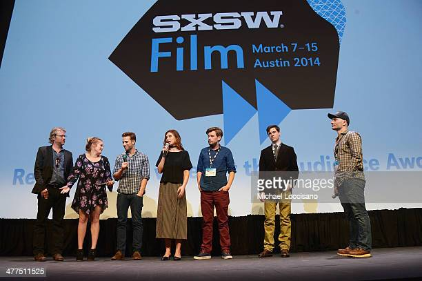 Actors Todd Lowe Sophi Bairley Dustin Milligan and Aly Michalka director Andy Landen screen writer Andrew Rothschild and Ezra Venetos take part in a...