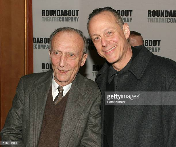 Actors Tom Aldredge and Mark Blum attend the curtain call for the Roundabout Theatre Company's Broadway premiere of Twelve Angry Men on October 28...