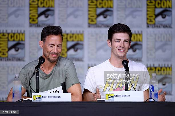 Actors Tom Cavanagh and Grant Gustin attend the The Flash Special Video Presentation and QA during ComicCon International 2016 at San Diego...