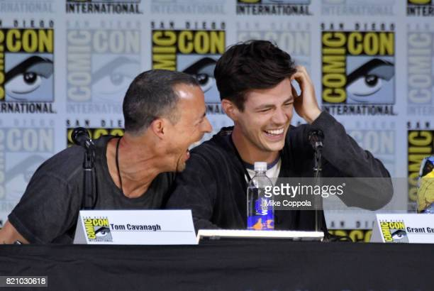 Actors Tom Cavanagh and Grant Gustin attend the 'The Flash' Video Presentation And QA during ComicCon International 2017 at San Diego Convention...