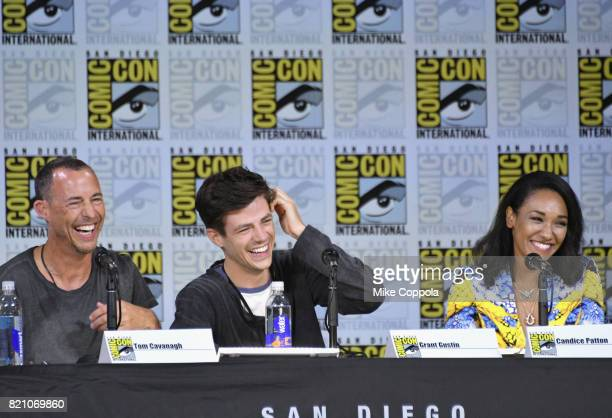 Actors Tom Cavanagh Grant Gustin and Candice Patton attend the 'The Flash' Video Presentation And QA during ComicCon International 2017 at San Diego...