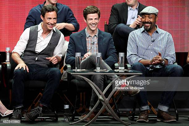 JULY 18 Actors Tom CavanaghGrant Gustin and Jesse L Martin speak onstage at the 'The Flash' panel during the CW Network portion of the 2014 Summer...