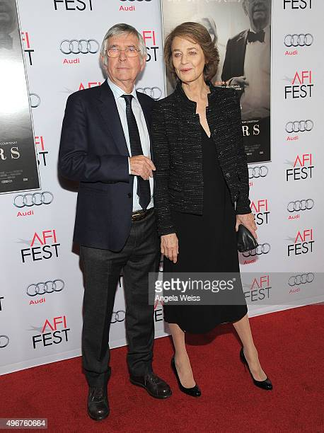 Actors Tom Courtenay and Charlotte Rampling arrive at the AFI FEST 2015 Presented by Audi Tribute to Charlotte Rampling and Tom Courtenay event at...