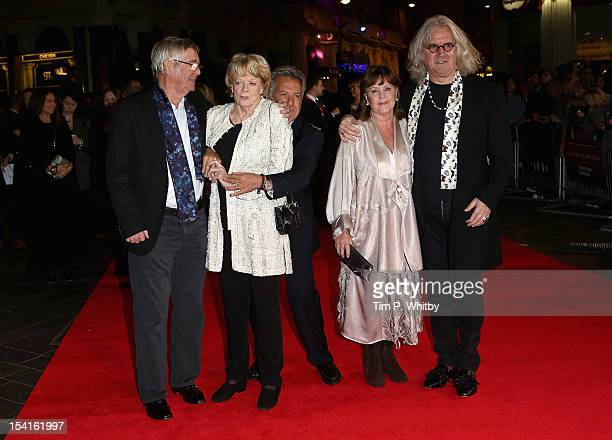 Actors Tom Courtenay Maggie Smith director Dustin Hoffman actress Pauline Collins and actor Billy Connolly attend the Quartet premiere during the...