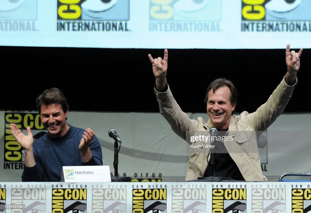 Actors Tom Cruise (L) and Bill Paxton speak onstage at the Warner Bros. and Legendary Pictures preview of 'Edge of Tomorrow' during Comic-Con International 2013 at San Diego Convention Center on July 20, 2013 in San Diego, California.