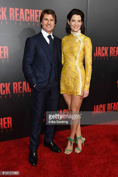 Actors Tom Cruise and Cobie Smulders attend the fan screening of the Paramount Pictures title 'Jack Reacher Never Go Back' on October 16 2016 at the...