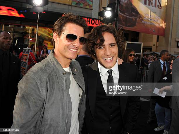 Actors Tom Cruise and Diego Boneta arrive at the premiere of Warner Bros Pictures' 'Rock of Ages' at Grauman's Chinese Theatre on June 8 2012 in...