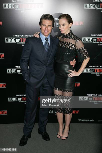 Actors Tom Cruise and Emily Blunt attend the 'Edge Of Tomorrow' Photocall at Cinema UGC Normandie on May 28 2014 in Paris France