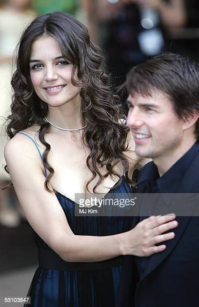 Actors Tom Cruise and fiancee Katie Holmes arrive for the UK Premiere of his new blockbuster 'War Of The Worlds' at the Odeon Leicester Square on...