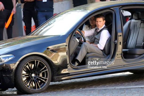 Actors Tom Cruise and Hayley Atwell are seen on the set of the movie Mission Impossible 7 on October 06, 2020 in Rome, Italy.