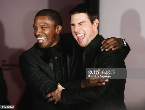 Actors Tom Cruise and Jamie Foxx attend the 'Collateral' Premiere at the 61st Venice Film Festival on September 3 2004 in Venice Italy