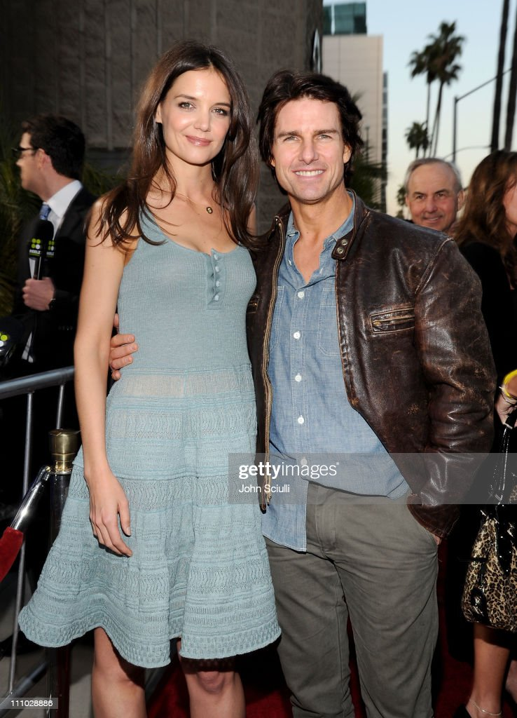 Actors Tom Cruise and Katie Holmes arrive at The ReelzChannel World premiere of 'The Kennedys' at AMPAS Samuel Goldwyn Theater on March 28, 2011 in Beverly Hills, California.