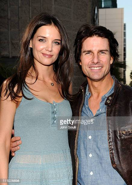 Actors Tom Cruise and Katie Holmes arrive at The ReelzChannel World premiere of The Kennedys at AMPAS Samuel Goldwyn Theater on March 28 2011 in...