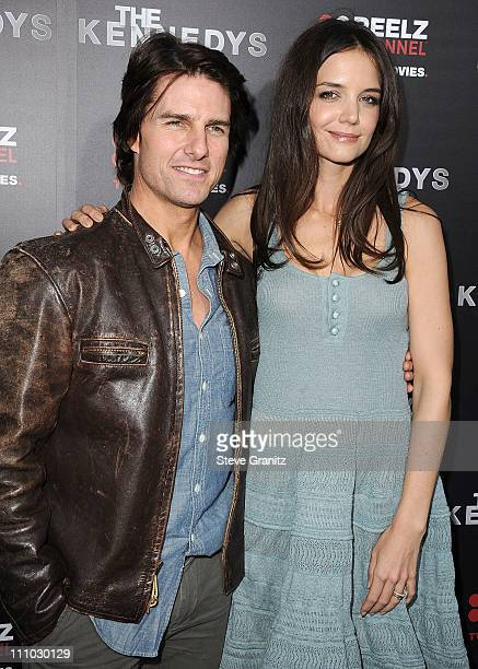 Actors Tom Cruise and Katie Holmes attends 'The Kennedys' World Premiere at AMPAS Samuel Goldwyn Theater on March 28 2011 in Beverly Hills California