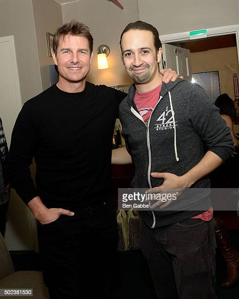 Actors Tom Cruise and Lin Manuel Miranda attend Broadway's 'Hamilton' at Richard Rodgers Theatre on December 23 2015 in New York City