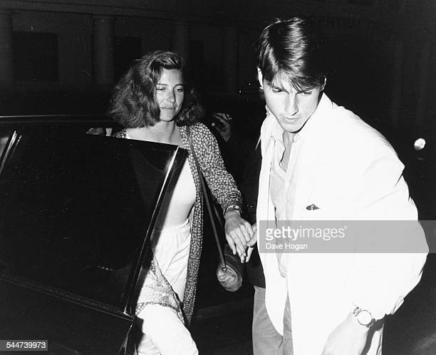 Actors Tom Cruise and Mimi Rogers arriving at a restaurant to dine with pop star Madonna London August 19th 1987