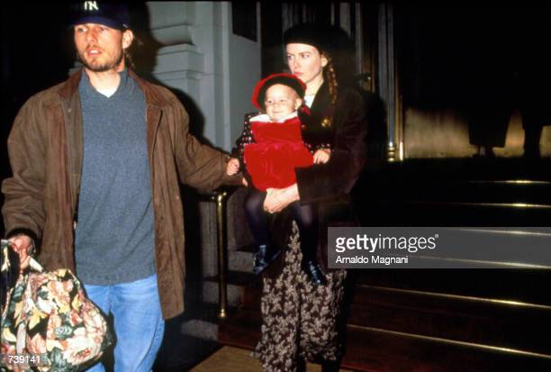 Actors Tom Cruise and Nicole Kidman with their baby in New York City 1994