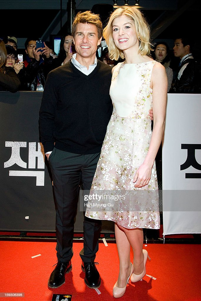 Actors Tom Cruise and Rosamund Pike attend the 'Jack Reacher' Fan Screening at Busan Cinema Center on January 10, 2013 in Busan, South Korea. The film will open on January 17 in South Korea.