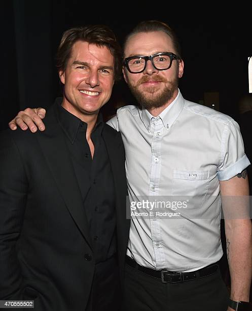 Actors Tom Cruise and Simon Pegg attend The State of the Industry Past Present and Future and Paramount Pictures Presentation at The Colosseum at...