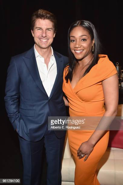 Actors Tom Cruise and Tiffany Haddish attend the CinemaCon 2018 Paramount Pictures Presentation Highlighting Its Summer of 2018 and Beyond at The...