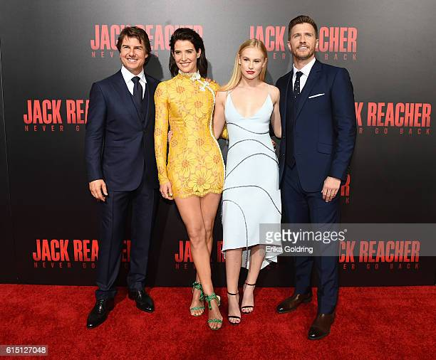 Actors Tom Cruise Cobie Smulders Danika Yarosh and Patrick Heusinger attend the fan screening of the Paramount Pictures title Jack Reacher Never Go...
