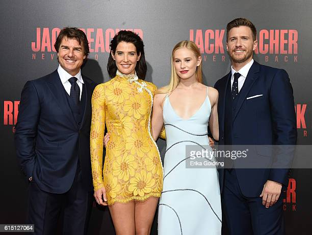Actors Tom Cruise Cobie Smulders Danika Yarosh and Patrick Heusinger attend the fan screening of the Paramount Pictures title 'Jack Reacher Never Go...