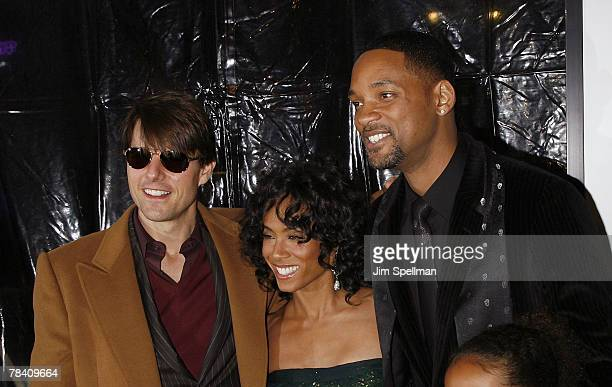 Actors Tom Cruise Jada PinketSmith and Will Smith arrive at the I Am Legend New York Premiere at the Theater at Madison Square Garden on December 11...