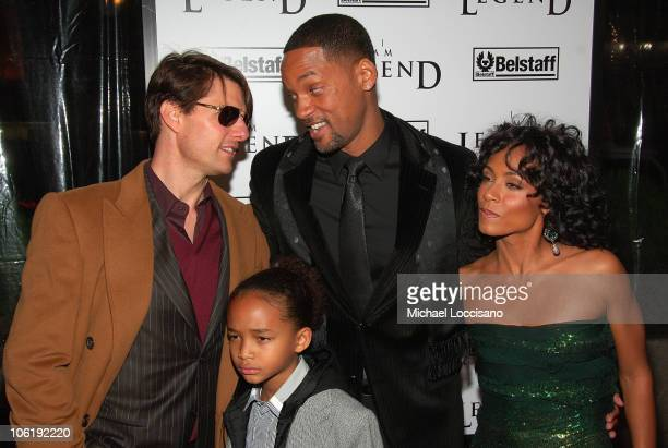 "Actors Tom Cruise, Jaden Smith, Jada Pinkett-Smith and Will Smith and Jaden Smith attend ""I am Legend"" premiere at the WaMu Theater at Madison Square..."