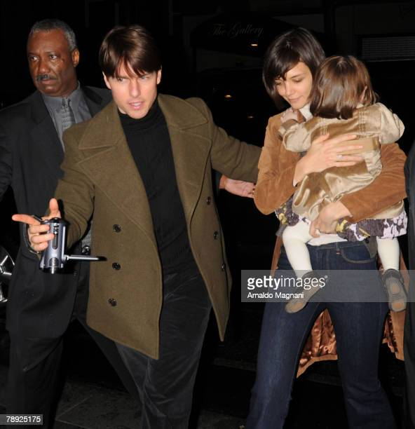 Actors Tom Cruise Katie Holmes and their daughter Suri arrive in midtown January 13 2008 in New York City The family is in town to promote Homes' new...