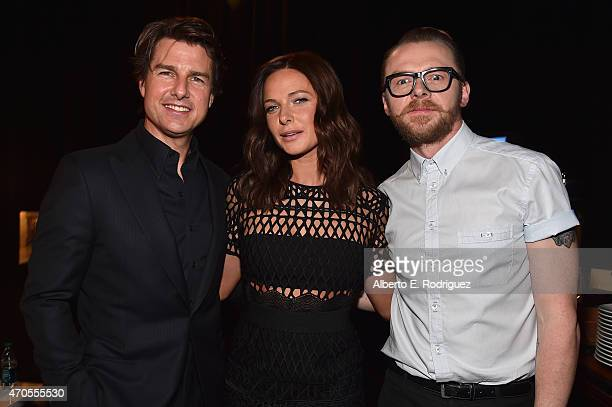 Actors Tom Cruise Rebecca Ferguson and Simon Pegg attend The State of the Industry Past Present and Future and Paramount Pictures Presentation at The...