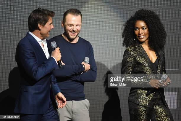 Actors Tom Cruise Simon Pegg and Angela Bassett speak onstage during the CinemaCon 2018 Paramount Pictures Presentation Highlighting Its Summer of...