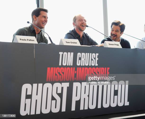 Actors Tom Cruise Simon Pegg and Anil Kapoor attend the Mission Impossible Ghost Protocol Press Conference during the 8th Annual Dubai International...