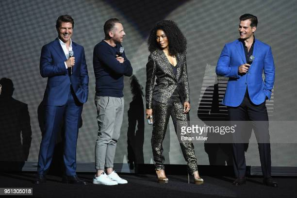 Actors Tom Cruise Simon Pegg Angela Bassett and Henry Cavill speak onstage during the CinemaCon 2018 Paramount Pictures Presentation Highlighting Its...