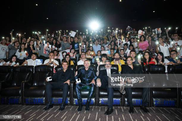 Actors Tom Cruise Simon Pegg director Christopher McQuarrie and actor Henry Cavill attend the 'Mission Impossible Fallout' fan screening at The Wanda...