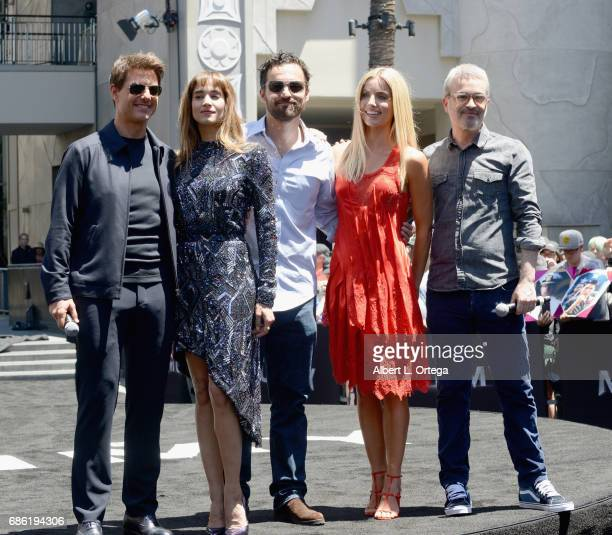 Actors Tom Cruise Sofia Boutella Jake Johnson Annabelle Wallis and director Alex Kurtzman attend the Universal Celebration of 'The Mummy Day' With a...