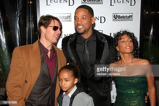 """Actors Tom Cruise, Will Smith, Willow Smith and Jada Pinkett-Smith attend """"I am Legend"""" premiere at the WaMu Theater at Madison Square Garden on..."""