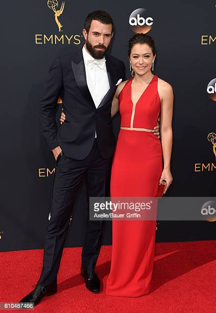 Actors Tom Cullen and Tatiana Maslany arrive at the 68th Annual Primetime Emmy Awards at Microsoft Theater on September 18 2016 in Los Angeles...
