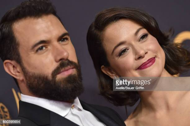Actors Tom Cullen and Tatiana Maslany arrive at the 69th Annual Primetime Emmy Awards at Microsoft Theater on September 17 2017 in Los Angeles...