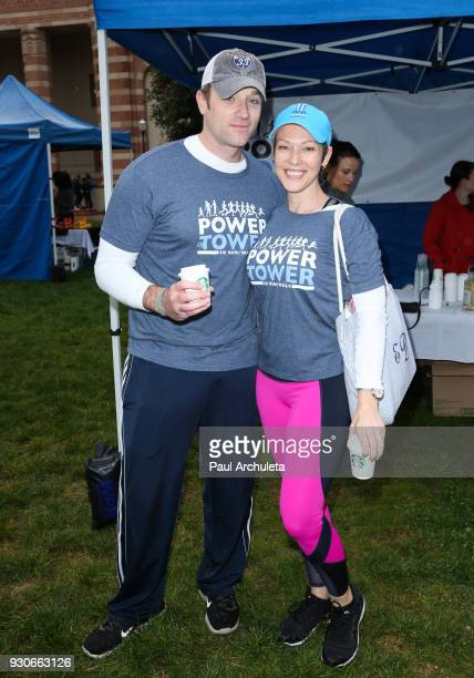 Actors Tom Degnan and Erin Cummings attend the Power Of Tower run/walk at UCLA on March 11 2018 in Los Angeles California