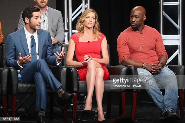 Actors Tom Ellis Tricia Helfer and DB Woodside speak onstage at 'Gotham/Lucifer' panel discussion during the FOX portion of the 2016 Television...