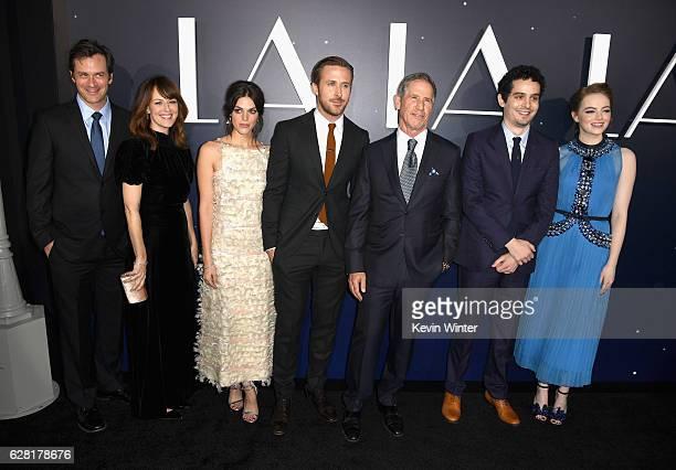 Actors Tom Everett Scott Rosemarie DeWitt Callie Hernandez Ryan Gosling producer Marc Platt director Damien Chazelle and actress Emma Stone attend...