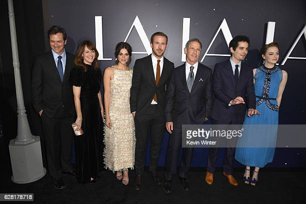 Actors Tom Everett Scott Rosemarie DeWitt Callie Hernandez Ryan Gosling producer Marc Platt director Damien Chazelle and actress Emma Stone attend...