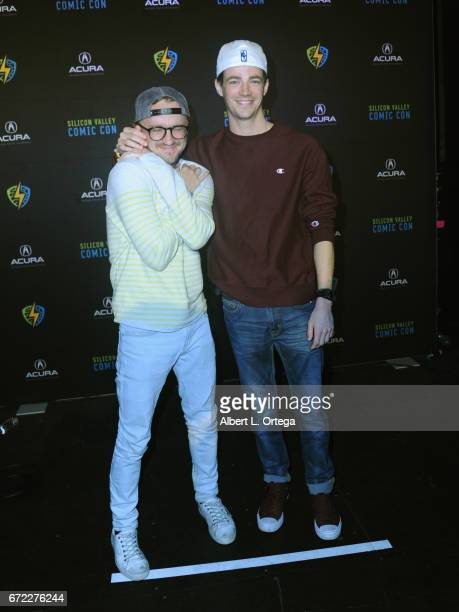 Actors Tom Felton and Grant Gustin participate on 'The Flash' panel on day 3 of Silicon Valley Comic Con 2017 held at San Jose Convention Center on...