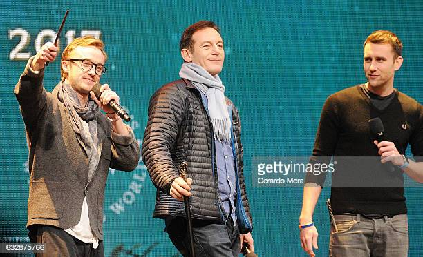 Actors Tom Felton Jason Isaacs and Matthew Lewis attend the fourth annual celebration of 'Harry Potter' opening night ceremony at Universal Orlando...