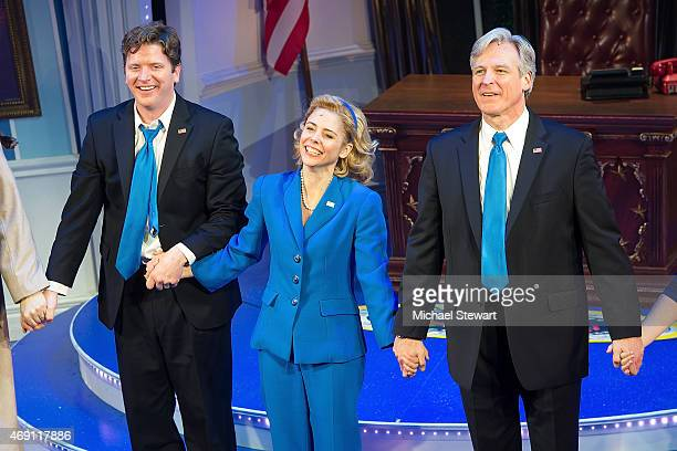 Actors Tom Galantich Kerry Butler and Duke Lafoon attend Clinton The Musical Opening Night at New World Stages on April 9 2015 in New York City