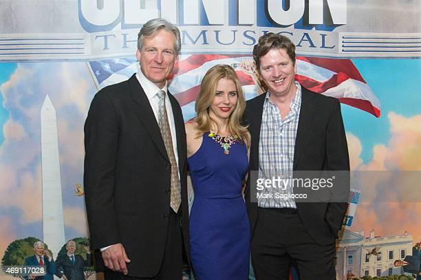 Actors Tom Galantich Kerry Butler and Duke Lafoon attend the Clinton the Musical Opening Night Curtain Call at New World Stages on April 9 2015 in...