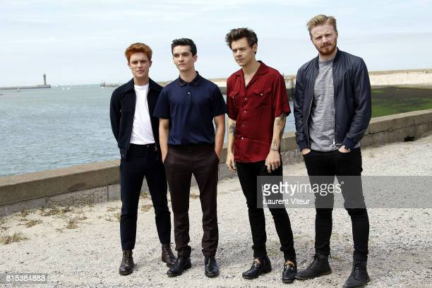 Actors Tom GlynnCarney Fionn Whitehead Harry Styles and Jack Lowden pose for 'Dunkirk' Photocall on July 16 2017 in Dunkerque France