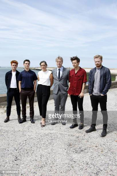 Actors Tom GlynnCarney Fionn Whitehead Producer Emma Thomas Director Christopher Nolan Actors Harry Styles and Jack Lowden pose for 'Dunkirk'...
