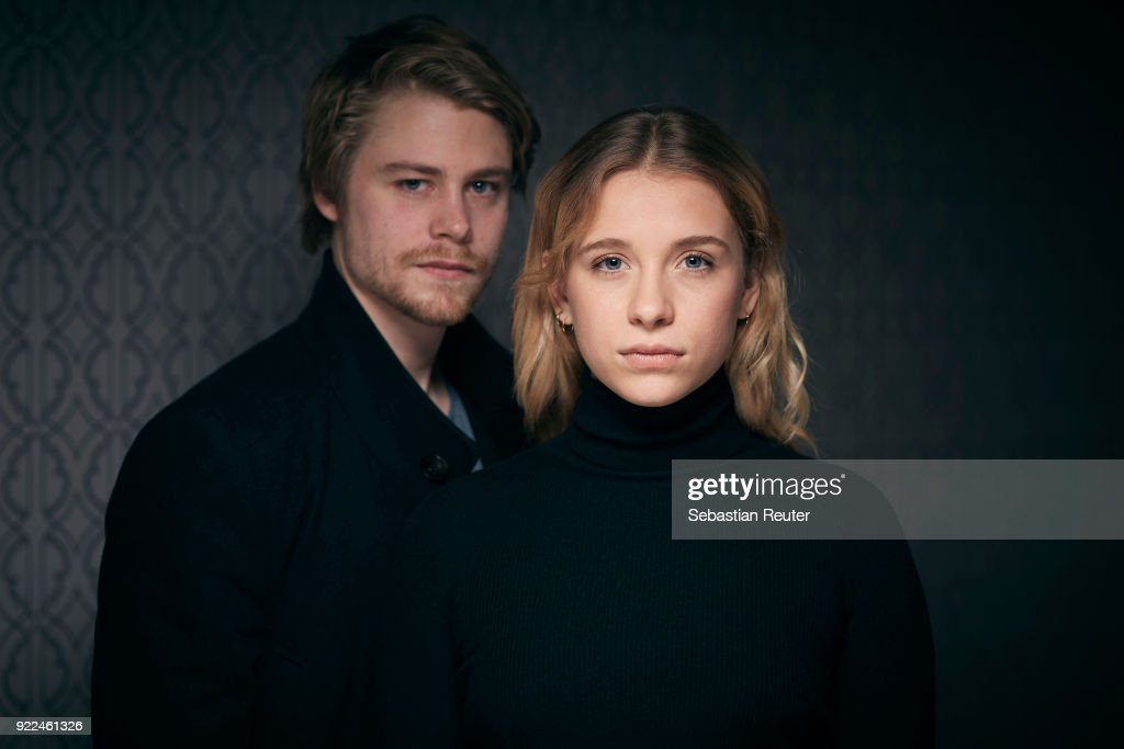 Actors Tom Gramenz and Anna Lena Klenke pose during the 'The Silent Revolution' (Das schweigende Klassenzimmer) portrait session at the 68th Berlinale International Film Festival Berlin at Hotel De Rome on February 20, 2018 in Berlin, Germany.