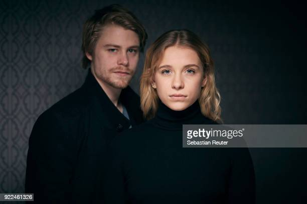 Actors Tom Gramenz and Anna Lena Klenke pose during the 'The Silent Revolution' portrait session at the 68th Berlinale International Film Festival...